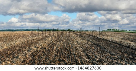 Plowed farmlands, arable fields with beautiful sky #1464827630