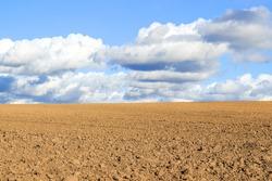Plowed field, fertile, black soil ready for sowing. Field ready for seeding.