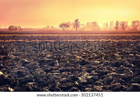 plowed soil. spring field. sunset over ploughed field. Countryside landscape. vintage cross-processed style. Vintage look. Instagram filter.