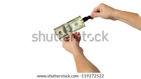 Plug In and Electrify Your Money for Good Results Isolated on White