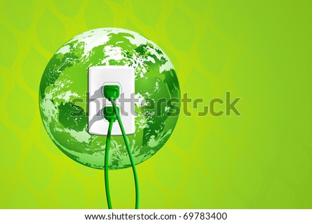 Plug into the energy of Planet Earth! Concept with green plugs, outlet and green leaf pattern in the background
