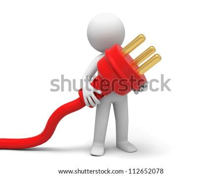 Plug/powder cord /a person carrying plug