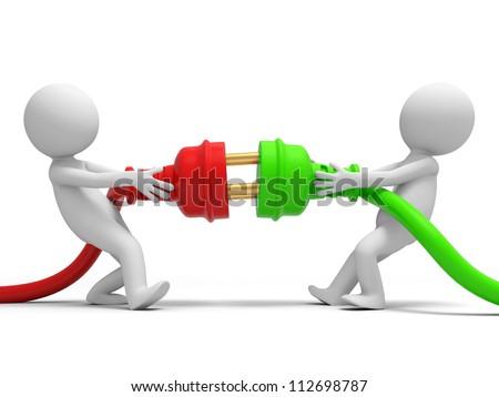 Plug/powder cord/two people pull plugs