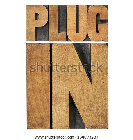 plugin (plug-in)  - computer software component or application - isolated text in vintage letterpress wood type printing blocks