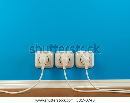 Plugs and Socket. Abstract background. 3d