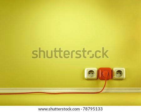 Plugs and Socket. Three-dimensional abstract background. 3d