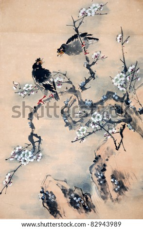 Plum Blossom on White Background -Traditional Chinese Painting.