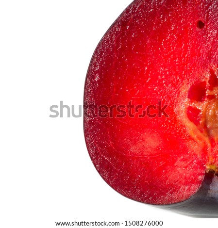 Plum Fruit tree with small juicy edible fruits, which have a large bone,. an oval fleshy fruit that is purple, reddish, or yellow when ripe and contains a flattish pointed pit. #1508276000