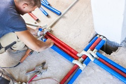 Plumber welded plastic pipes