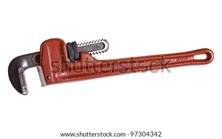 plumbers pipe wrench on white with clipping path at original size