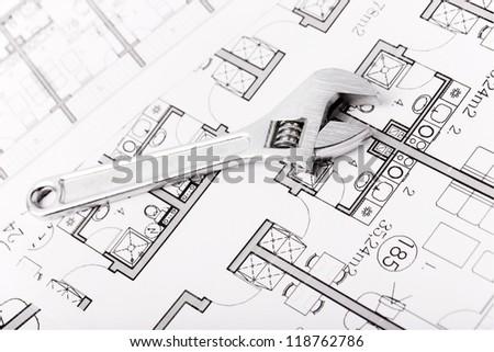 Plumbing Equipment On House Plans - stock photo