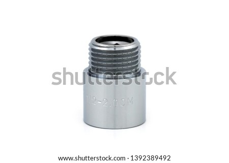 Plumbing fitting. Steel fitting. Pipe Thread Extension on white background.