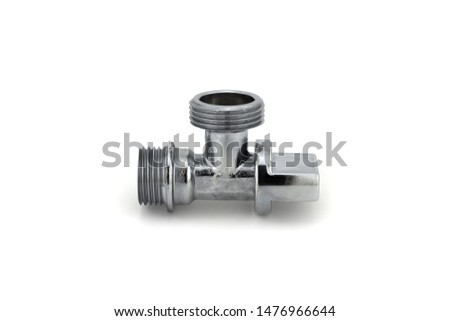 Plumbing fitting. Steel fitting. Steel tap. Water Stop Shut. Faucet on white background.