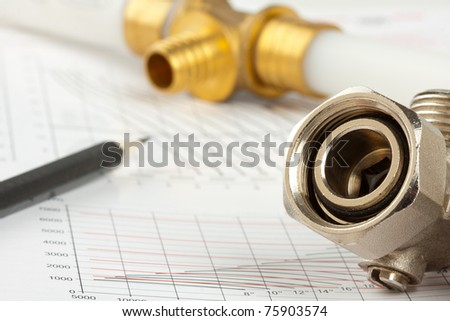 Plumbing supplies - pipes, pencil, documentation and valves