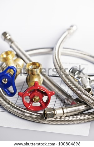 Plumbing valves hoses and assorted parts with estimate sheet