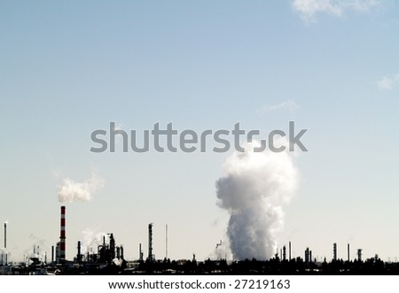 Plume of vapor from a petrochemical plant east of Edmonton, Alberta in Strathcona County