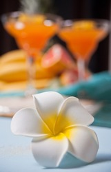 Plumeria frangipani flower and glasses of tropical exotic multifruit juice cocktail drink on the background. Tripical beach picnic concept.