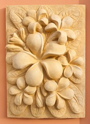 Plumeria  sandstone carving texture craft, Bali art design for spa landscaping