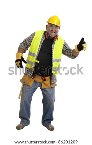 Plump construction worker isolated in white