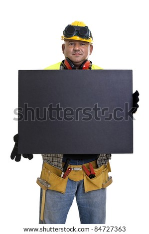 Plump construction worker with black board  isolated in white
