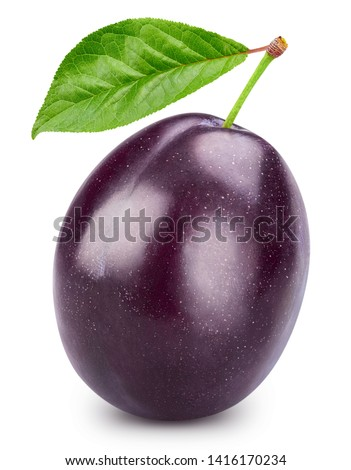 Plums half with leaves isolated on white background. Plums clipping path. Professional food photography Foto stock ©