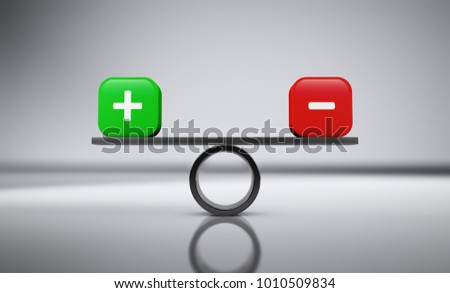 Plus and minus icon and sign balance business financial concept 3D illustration on grey background.