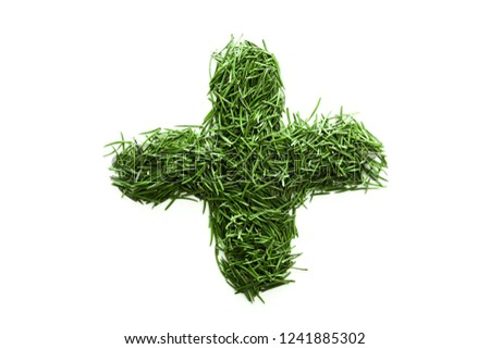 plus mark, signs and symbols are made of green grass isolated on white background #1241885302
