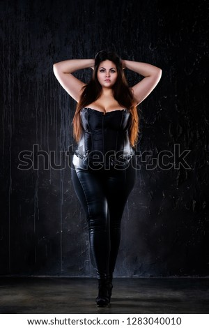 Plus size fashion model in sexy clothes f81c96485