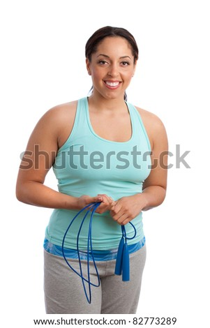 Plus Size Fitness Female Model Holding Jump Rope Isolated on White Background