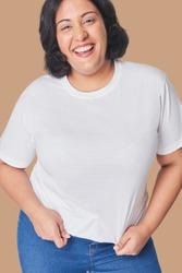 Plus size women's top and jeans fashion studio shot