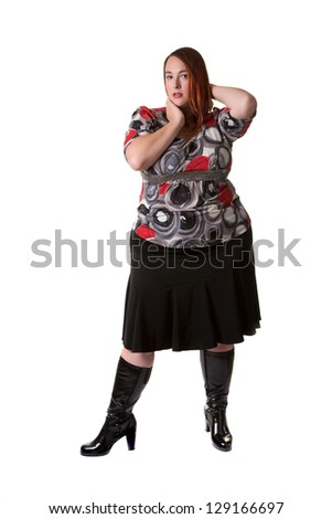Plus sized fashion model
