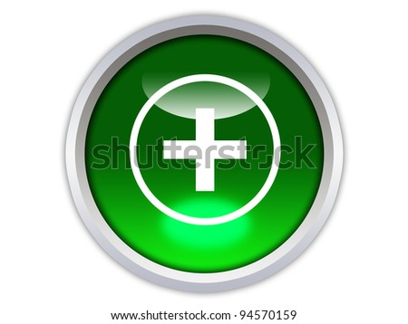 plus symbol on green glossy button isolated over white background