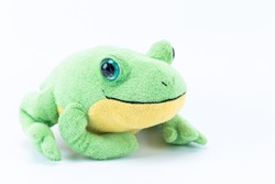 Plush Stuffed toy of a green frog isolated in white background