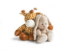 Plush toy giraffe and Bunny rabbit isolated on a white background Colorful plush toy. Colored stuffed toy-giraffe and Bunny. White and brown giraffe, grey rabbit