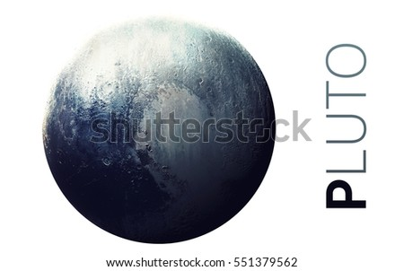 Pluto - High resolution beautiful art presents planet of the solar system. This image elements furnished by NASA #551379562