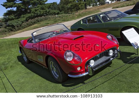 PLYMOUTH - JULY 29 : A 1963 Ferrari SWB California Spyder on display at the Concours D'Elegance  July 29, 2012 in Plymouth, Michigan.