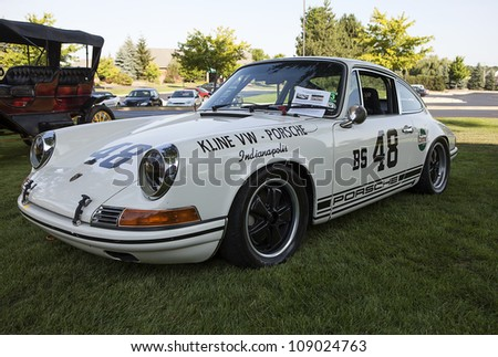 PLYMOUTH - JULY 17 : A Porsche 911 race car on display at the Concours D\'Elegance media event  July 17, 2012 in Plymouth, Michigan.