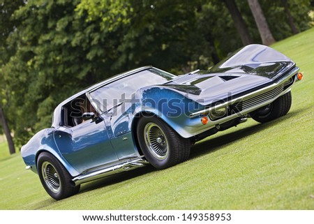 PLYMOUTH - JULY 28 : A vintage Corvette Maco Prototype on display at the Concours D'Elegance  July 28, 2013 in Plymouth, Michigan. - stock photo