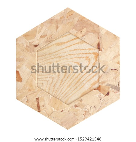 plywood hexagonal frame isolated on a white background with clipping path