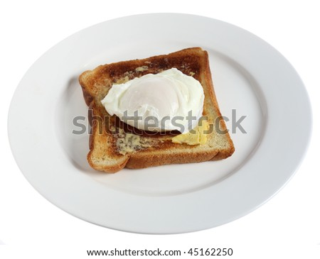 Poached egg on toast on a plate over a white background.