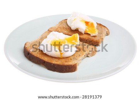 Poached eggs on wholemeal buttered toast