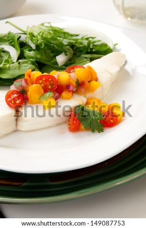 Poached Halibut With Peach Salsa, And Green Salad. Stock Photo ...