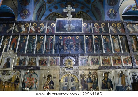 POCHAEV, UKRAINE - OCT 05: Very well preserved frescoes and icons on religious themes in Trinity Cathedral in Pochayiv Lavra on October 05, 2012 in Pochaev, Ukraine
