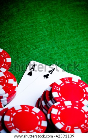 Pocket Aces, a great poker opening - stock photo