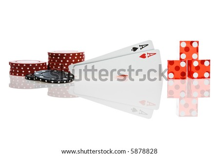 Pocket Aces Isolated on white background with reflection - stock photo
