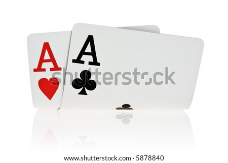 Pocket Aces Isolated on white background with reflection