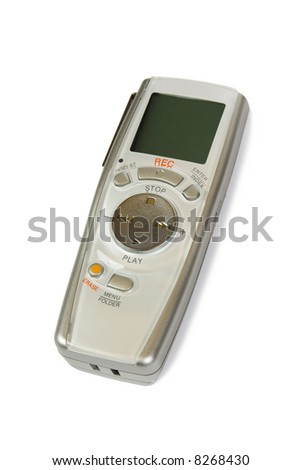 Pocket digital dictaphone, isolated on white background