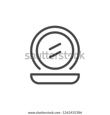 Pocket mirror line icon isolated on white
