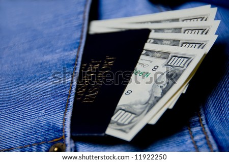 Pocket Money In Blue Jeans with passport - US Dollars