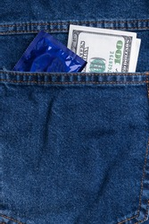 Pocket money in the back pocket of jeans. Dollars and a condom in your pocket
